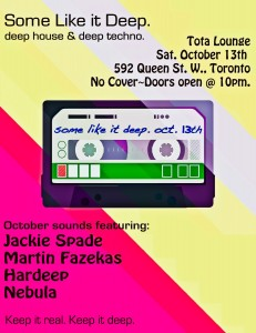 Toronto's Deep House and Techno Event Flyer: Some Like It Deep, Oct. 2012