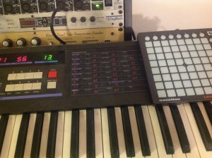 Launchpad Mini atop Korg DW-6000