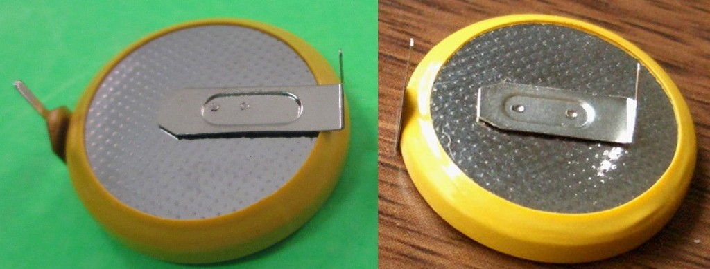 Two styles of horizontal-mount, solder-tabbed CR2032 coin cells.