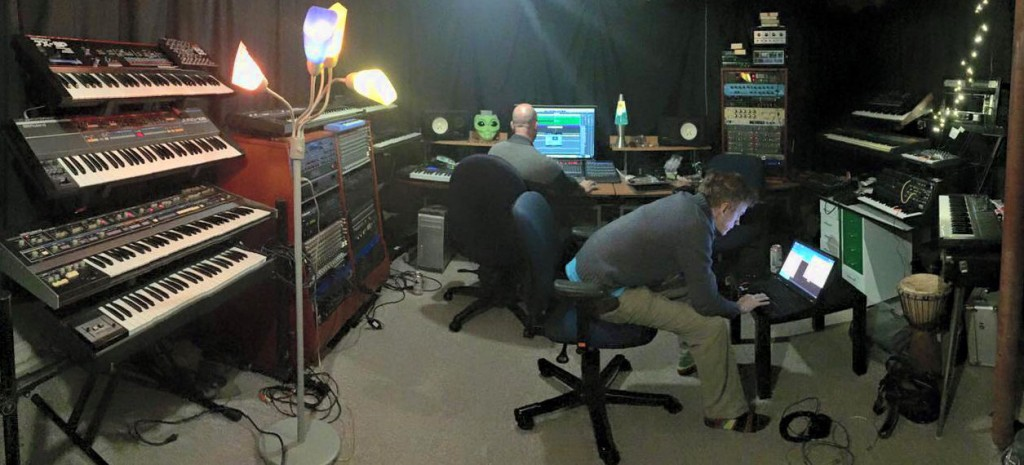 The group is exploring grooves, moving around samples. Here we see Juggernaut HQ, a.k.a. Studio Nebula, as it was meant to be: full of gear and nerds.